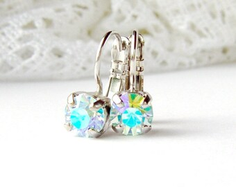 Lt Azore Glacier Blue rhinestone earrings / Aurora borealis leverback earrings / 6mm / Swarovski / ice blue / unique gift / rainbow