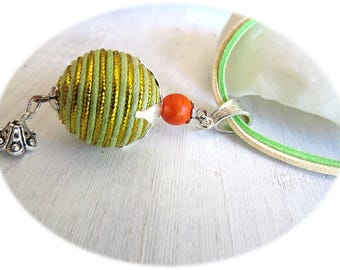 Fancy yellow and green fabric Bead Necklace