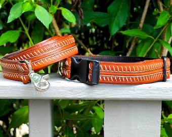 Leather Dog  Collar & Leash