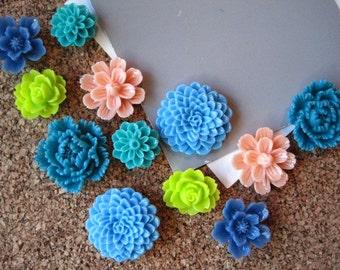 Flower Pin Board Tacks, 12 Push Pins, Teal, Lime Green, Peach Flower Thumbtacks, Wedding Decor, Stocking Stuffer, Housewarming Gift