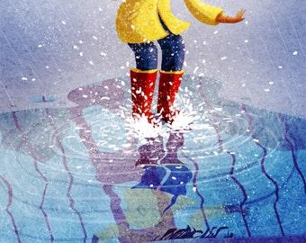 "Rainy Day Painting, Rain boots art, Rain lover print, San Francisco Art, Wall Art - ""Puddle Pounce"""