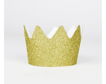 SMALL gold paper crowns. Set of 8.  Gold glitter party crowns.  Gold 1st birthday crown.  Gold party hats.  Gold princess party crowns.