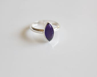 Amethyst Ring Marquise Ring Gemstone Ring for women Natural Amethyst Made to Order Sterling Silver Birthstone Ring February Birthstone