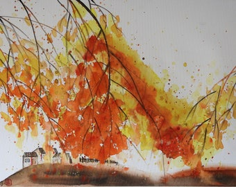 Autumn/watercolour/Gift/Painting/Chinese