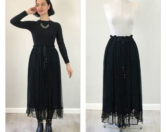 Vintage 70s silk Goth Indian bohemian skirt   S  M