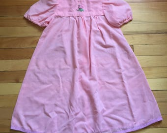 Vintage 1980s Girls Pink Rose Sheer Dress! Size 4-5