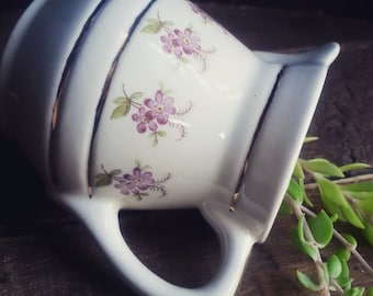 Vintage Creamer, Gold and Purple Floral Cream Pitcher, Cottage Chic Tableware