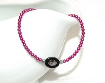 Pink Pearl and Black Flower Bracelet