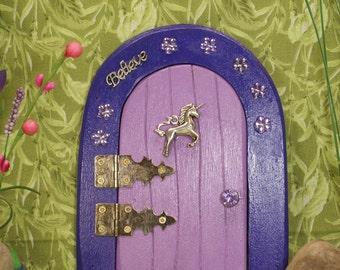 Fairy Door, Purple with Unicorn
