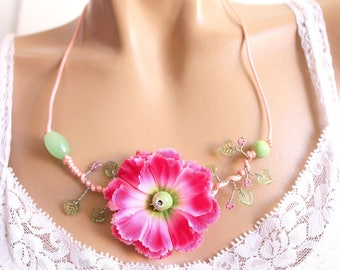 Pink fabric and pink satin Flower necklace