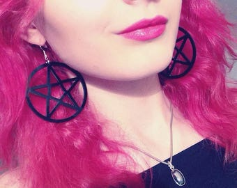 "Earrings ""Pentacle black"" (esoteric, occult, Gothic, magic)"