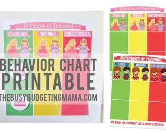 Behavior Chart Printable Package (Princess+ Superheroes) - PDF