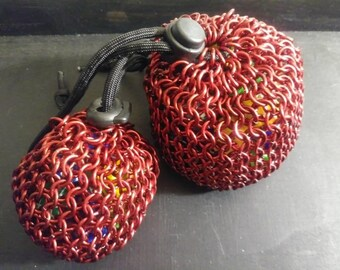 Red Chainmail dice/accessory bag