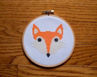 Fox Face Cross Stitch Pattern