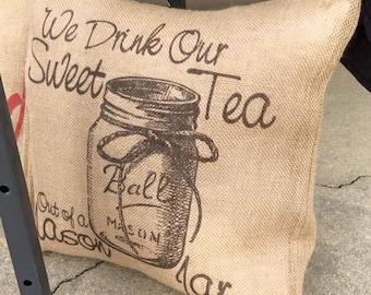 Sweet Tea Burlap Pillow Cover