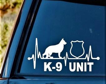 B1169 K-9 Unit German Shepherd Dog Decal Sticker