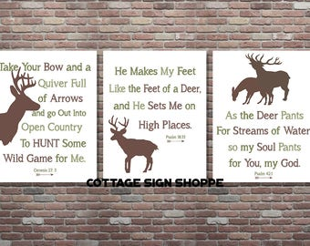 Hunting Nursery Decor, Psalm, 18:33, Genesis 27.3, Psalm 42.1, DIGITAL, YOU PRINT, Boys Hunting Nursery,Boys Hunting Decor, Hunting Decor