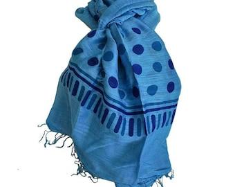 ORGANIC blue fine silk scarf