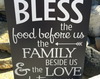 Farmhouse Decor Sign Bless the Food Before Us Wood Sign Wooden Sign Kitchen Decor Farmhouse Kitchen Decor Sign Dining Room Wall Decor