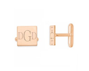 Custom Engraved Wedding Monogram 18k Rose Gold Plated 925 Sterling Silver Cufflinks, Personalized Cufflinks, Groom Cufflinks,