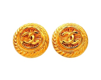 Authentic vintage Chanel earrings Round Rope CC logo #ea2103