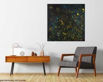 """Abstract Acrylic Painting   Stars   Space Painting   Night Sky   Modern Artwork - 30x30"""""""