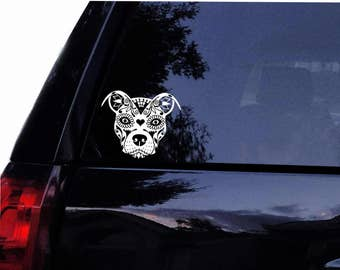 Beautiful Zentangle Sugar Pit Face - Pit Bull  Dog Terrier  Vinyl Car Decal, Laptop Decal, Car Window Wall Sticker