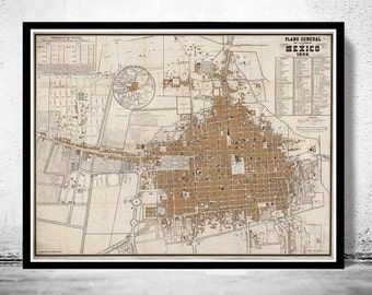 Old Map of Mexico City,  Mexico 1864