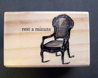 rubber stamp - chair - REST a minute - relax - cardmaking, paper arts, collage, tags