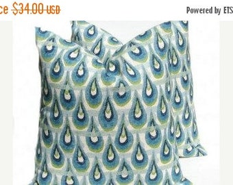 15% Off Sale PILLOWS, Green Pillow, Blue Pillow, Blue Pillow Covers, Blue Throw Pillows, Green Pillow, Accent Pillow, Burlap , Decorative Pi