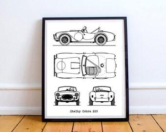 """Shelby Cobra Blueprint, Shelby Cobra, Blueprint Art, Instant Download, AC Cobra, Blueprints, Shelby Cobra Gift, Automotive Art, 8x10, 11x14"""""""