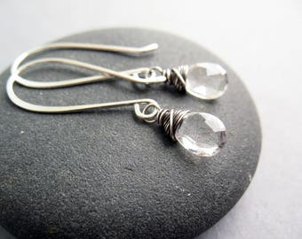 Crystal Quartz Earrings, Christmas Gift for Women, Everyday Earrings, Quartz Earrings, Lightweight Earrings, Wire Wrapped, Sterling Silver
