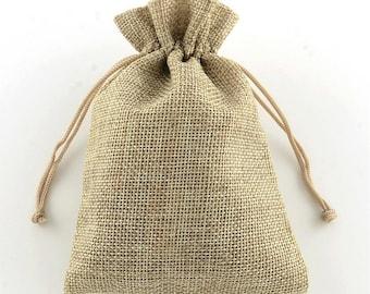 6pc 14x10cm  Burlap Packing Pouches Drawstring Bags-7693a