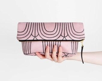 Pink Clutch Purse, Vegan Suede Handbag, , Suede Foldover Bag, Dusty Rose Purse, Wedding Clutch, Girlfriend Gift For Her, Christmas Gift