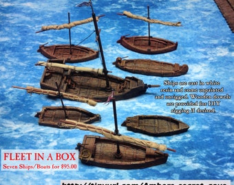 Fleet in a Box: Seven ships and boats  28mm Table Top Gaming