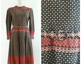 Vintage Japanese day dress, Print dress, Silk Chiffon Dress/ Size Small