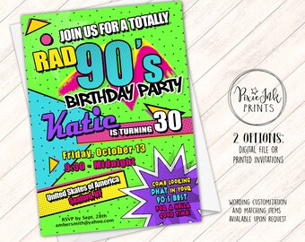 90s party invitation Etsy