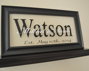 """Family Established Sign Personalized Family Name Sign Last Name Sign 11"""" x 21"""""""