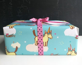 Unicorn gift wrap, 6 or more rolled sheets, horse, party paper, kids birthday, wrapping paper for children, scrapbooking, fun,horse and bird