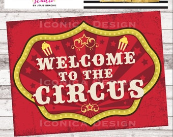 """Circus Birthday Party Sign 18x24"""" Digital File - Carnival Party Sign -  Circus Welcome Sign"""