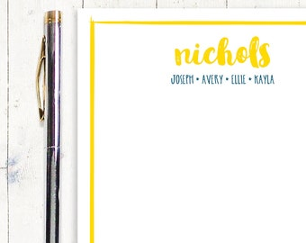 personalized notePAD - BRUSH SCRIPT family NAME - stationery - letter writing paper - stationary