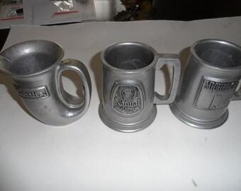 3 Pewter Beer mugs Lebatt, michelob, Grain belt