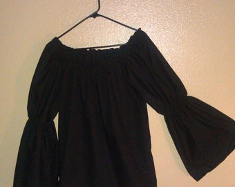 Womens (XS, S, or M) ASSORTED COLORS  Bell Flared Long Sleeve Renaissance Faire Chemise Blouse