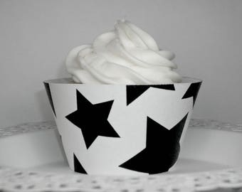 NEW!  Black & White Stars Cupcake Wrappers • birthday party decor • baby showers • celebrations (Set of 12+) Wrap your cupcakes in style!