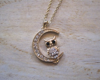 Gold Owl and Moon Necklace - Gold Rhinestone Owl and Moon Necklace -Owl and Moon - Animal Jewelry