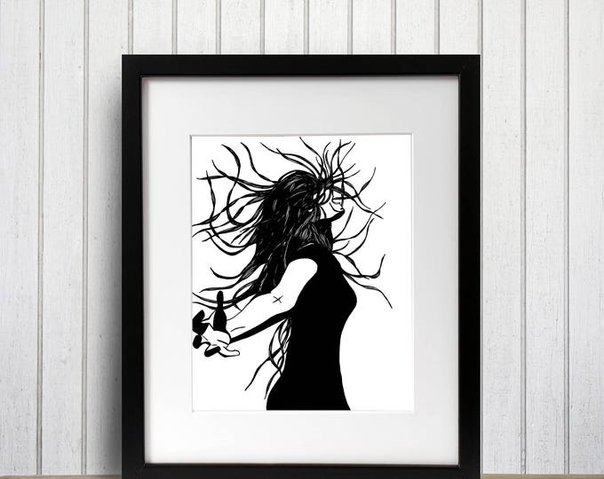 Featured listing image: Invention Original Ink Drawing - Art Print