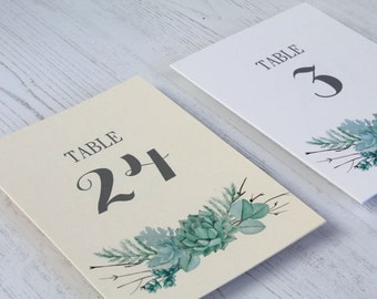 Succulent Wedding Table Numbers - 4 x6 - 5 x7 - Greenery Table Number Cards - Wedding Table Decor - Table Numbers for Weddings - Eucalyptus