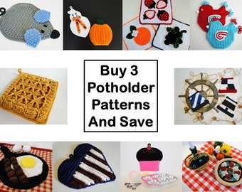 Potholder Crochet Pattern Bundle 3 - Potholder Crochet Pattern - Pot Holder Crochet Pattern - Hotpad Crochet Pattern - Digital PDF Patterns
