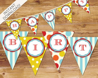 Carnival Happy Birthday Bunting Banner - Circus Birthday Banner - Instant Download Party Decor - Party Supplies