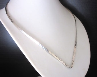 Hammered Silver V Choker Made In Mexico